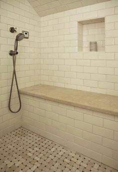 Tile For Showers, Shower Bench, Shower Floor Tiles, Tile Shower Design, & Niche In Shower - Traditional Bathroom By Andre Rothblatt Architecture Shower Seat, Shower Niche, Master Shower, Master Bathroom, Shower Benches, Huge Shower, Master Baths, Attic Bathroom, Bathroom Modern