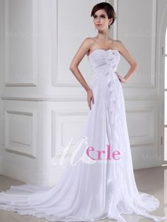Trendy Sheath/Column Hand-made Flower Sweetheart Sleeveless Chiffon Wedding Dress with Pleats