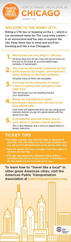 """Going to Chicago? """"Travel like a local"""" with these transit tips. Cool they have something like the Independence day pass"""