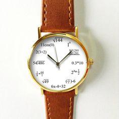 Math Formula Watch , Equation Watch, Vintage Style Leather Watch, Women Watches, Mens Watch, Unisex , Boyfriend Watch,