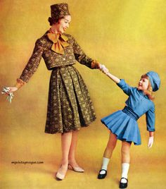 Mother and daughter vintage fashion