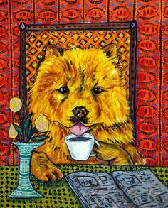 chow chow dog coffee 13x19 signed art PRINT dog animals impressionism gift new #PopArt
