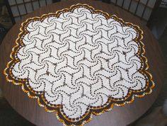 Large Vintage Doily  Hexagon  Crocheted by KittyCatsCupboard
