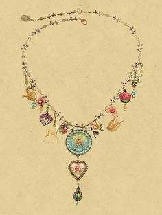 "Michal Negrin cameo necklace. With a Roses cameo, sparkling Swarovski crystals, painted flowers and vintage style bell shaped beads and a rose. The pendant measures 4 inches high and the chain length is adjustable at 16 and 18 inches. Nickel-free brass. Michal Negrin is launching a new jewelry collection ""True Colors"" ,The New Collection has dramatic and glamorous look with an emphasis on bold colors."