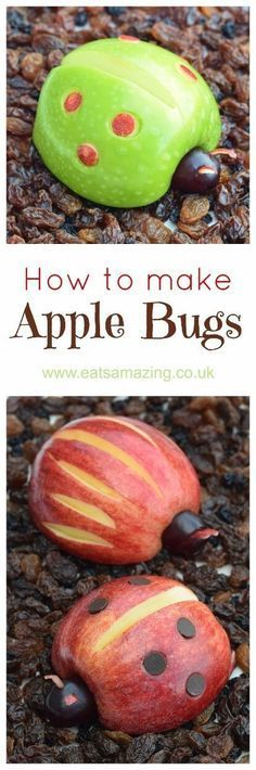 How to make apple bugs - easy fun food tutorial from Eats Amazing UK - kids will love this fun and healthy food art snack idea