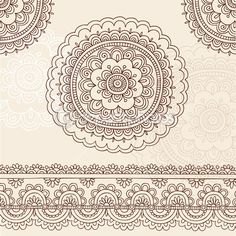 handgezeichnete Henna Mandala Blumen und Grenze Design paisley Henna Mehndi Paisley floral tattoo Doodle-Vektor-Illustration-Design-Elemente