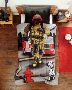 Firefighter Twin Comforter Set - Fireman Bedding Gray Red for Boy or Girl
