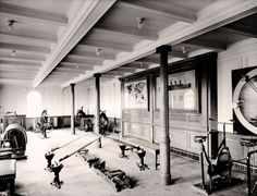 March 1912: The first class gymnasium on board the Titanic. On the night of April 14, when the ship struck an iceberg, the physical instructor Mr. T. W. McCauley remained at his post and went down with the ship. |  Image: Popperfoto/Getty Images| www.piclectica.com #piclectica