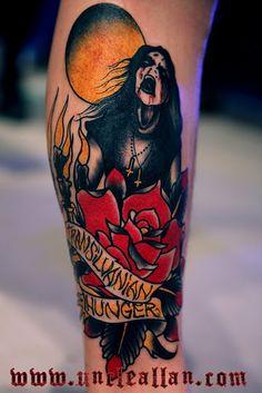 That's a sick ass tattoo! Arm Tats, Skin Drawing, Dagger Tattoo, Metal Tattoo, 70s Hippie, American Traditional, Tattoo Inspiration, Black Metal, Watercolor Tattoo