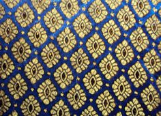 Royal Blue Silk Brocade Fabric with Golden Motif Pattern Fat Quarter India