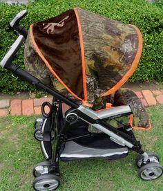 Camo Baby Mossy Oak Breakup/Orange Minky/Brown Minky/Buck Brown Monogram Stroller Cover on Etsy, $149.00