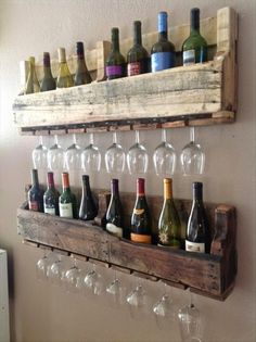Recycling: Cool furniture made of old pallets shelf .- Recycling: Coole Möbel aus alten Paletten Recycling: Cool furniture from old pallets shelf - Vin Palette, Palette Diy, Palette Wine Rack, Old Pallets, Wooden Pallets, Recycled Pallets, Recycled Wood, Repurposed Wood, Wooden Pallet Ideas