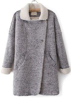 Abrigo de lana solapa bolsillos manga larga-Gris EUR€44.54