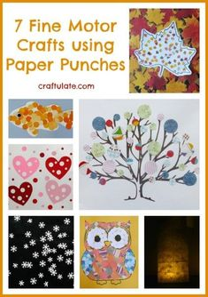 7 Fine Motor Crafts using Paper Punches - Craftulate Christmas Paper Crafts, Holiday Crafts, Fun Crafts, Crafts For Kids, Arts And Crafts, Fine Motor Activities For Kids, Craft Activities, Activity Ideas, Preschool Ideas