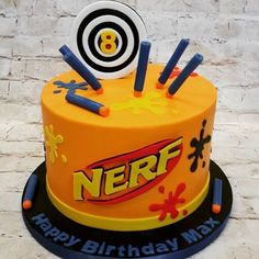 Nerf Birthday Cake- also like the idea of the splatter paint for a paintball party Nerf Birthday Party, Nerf Party, Birthday Cupcakes, 10th Birthday, Birthday Ideas, Birthday Cake Kids Boys, Paintball Party, Bolo Nerf, Nerf Gun Cake
