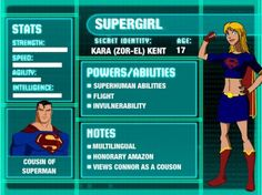 Supergirl Young Justice Stat Card