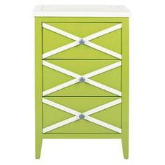Great size for a bed table, next to our white painted bed.  Green poplar side table with a criss-cross design.   Product: Side tableConstruction Material: PoplarColor: Green and whiteFeatures: Three drawersDimensions: 28.3 H x 18 W x 14.9 D