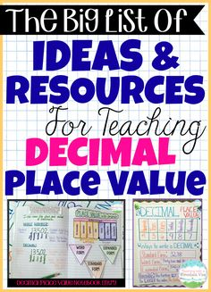 A HUGE list of Decimal Place Value Resources & Teaching Ideas! Teaching decimals can be FUN.