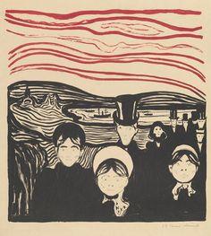 "Edvard Munch, ""Angst (Anxiety),"" lithograph, painted in color Karl Schmidt Rottluff, George Grosz, Aarhus, Jackson Pollock, Famous Artists, Henri Matisse, Scream, Art History, Printmaking"