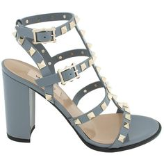 Valentino Rockstud Block-Heel Leather Sandal ($799) ❤ liked on Polyvore featuring shoes, sandals, grey, valentino, valentino shoes, leather sandals, caged heel sandals, gray sandals and caged high heel sandals