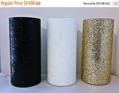 SALE Black Gold and White Centerpiece Vases, Black gold and white wedding, black…