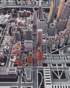 The Minecraft Ono City, the world's biggest solo build Minecraft city. Minecraft City, World's Biggest, E Design, City Photo, Building, Buildings, Construction