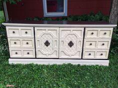 Vintage Dresser Long Shabby Dark Wood Linen Chalk Paint Distressed #chalkpaint #vintagedresser