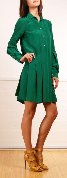 Gucci emerald green drop waist dress