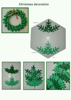 DIY Christmas Hama perler wreath pattern, From Hama. -More Christmas perler decorations! I promise to find some halloween ones! Hama Beads Design, Diy Perler Beads, Hama Beads Patterns, Perler Bead Art, Beading Patterns, Christmas Perler Beads, Christmas Crafts, Christmas Decorations, Xmas