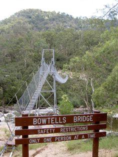 Megalong Rd to Bowtells Swing Bridge (Coxs River) walking track Blue Mountains Australia, River Walk, Birds Eye View, Bridge, Track, Hiking, Walks, Runway, Bridge Pattern