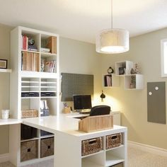 Setting for Four: 10 + Helpful Home Office Storage and Organizing Ideas. Ikea shelf units anchor a desk, home office design decor Home Office Storage, Home Office Space, Home Office Design, Home Office Decor, Home Decor, Office Furniture, Office Designs, Office Setup, Desk Space