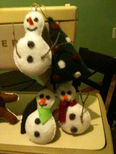 felt snowmen ornaments