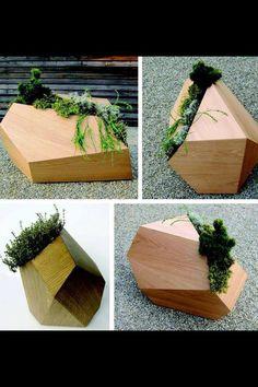 Faceted wood planters by pour les alpes