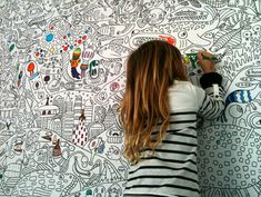 If I ever have kids, I am making one of these for them. How cool is this??? -A Colour-In Wall-