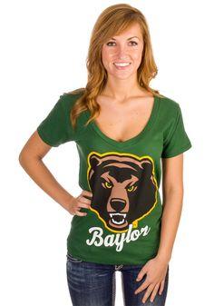 Baylor Bears Women's Green V-Neck Shirt