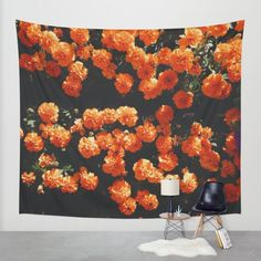 Orange Bloom Wall Tapestry by Mixed Imagery | Society6