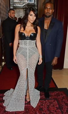 """The couple attended the 2014 GQ Men Of The Year awards at The Royal Opera House in London where Kim was honored as the """"Woman of the Year"""" and received even more attention for her sheer Ralph & Russo high-waisted skirt and Atsuko Kudo black latex bodysuit."""
