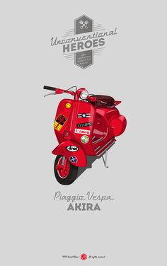 Unconventional Heroes by Gerald Bear Piaggio Vespa Piaggio Vespa, Vespa Lambretta, Vespa Scooters, Motor Scooters, Car Illustration, Car Posters, Car Drawings, Art Graphique, Car Wallpapers