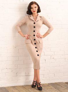 Pin Up Dresses, Dresses Online, Revere Collar, Button Skirt, Wiggle Dress, Vintage Fashion, Vintage Style, Retro Outfits, Retro Dress