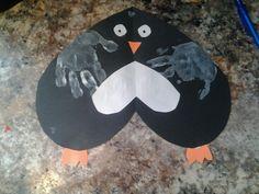 Handprint Heart Penguin