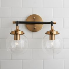 Mixed Metal Globe Vanity Light - 2 light - Shades of Light