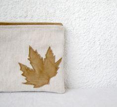Leather leaf appliquéd Clutch purse cosmetic bag  by HelloVioleta, $25.00