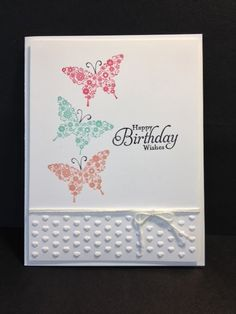 features Stampin Up's Papillon Potpourri stamp set and adorning accents embossing folder for quick and easy Birthday card.