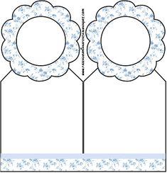 Azul com Flores Provençal - Kit Completo com molduras para convites, rótulos para guloseimas, lembrancinhas e imagens!