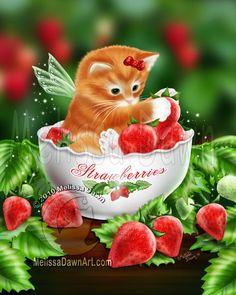 Strawberry Kitten cat angel fairy red strawberry strawberries