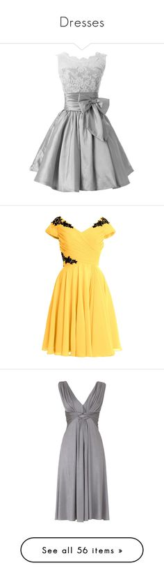 """Dresses"" by mariaabney ❤ liked on Polyvore featuring dresses, gowns, short homecoming dresses, bridesmaid dresses, short ball gowns, short dresses, taffeta ball gown, evening gowns, yellow cocktail dress and bridal gowns"