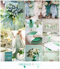 Emerald + mint wedding ♡ How to plan a Wedding Ceremony ♡ https://itunes.apple.com/us/app/the-gold-wedding-planner/id498112599?ls=1=8  ♡ Weddings by Colour ♡ http://www.pinterest.com/groomsandbrides/