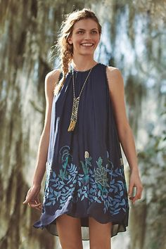 Boho Fashion - Blue Woodvine Swing Dress By Anthropologie Summer Outfits, Casual Outfits, Cute Outfits, Fashion Outfits, Summer Dresses, Swing Dress, Dress Skirt, Tent Dress, Cute Dresses