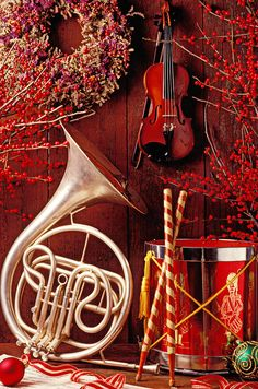 French horn Christmas still life Photograph  - French horn Christmas