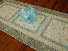 Dragonfly Table Runner in Blue and White, Quilted Table Runner, Dragonflies and Leaves, Dresser Runner, Coffee Table Runner, Table Decor by SusiQuilts on Etsy